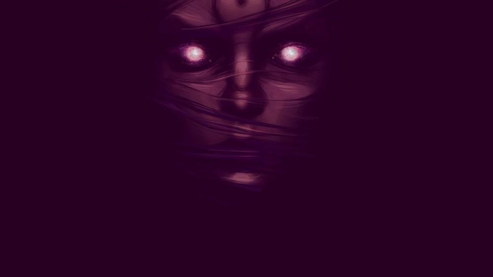 343730-hair_in_face-face-artwork-glowing_eyes-minimalism-purple-digital_art