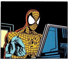 Spider-Man using the computer